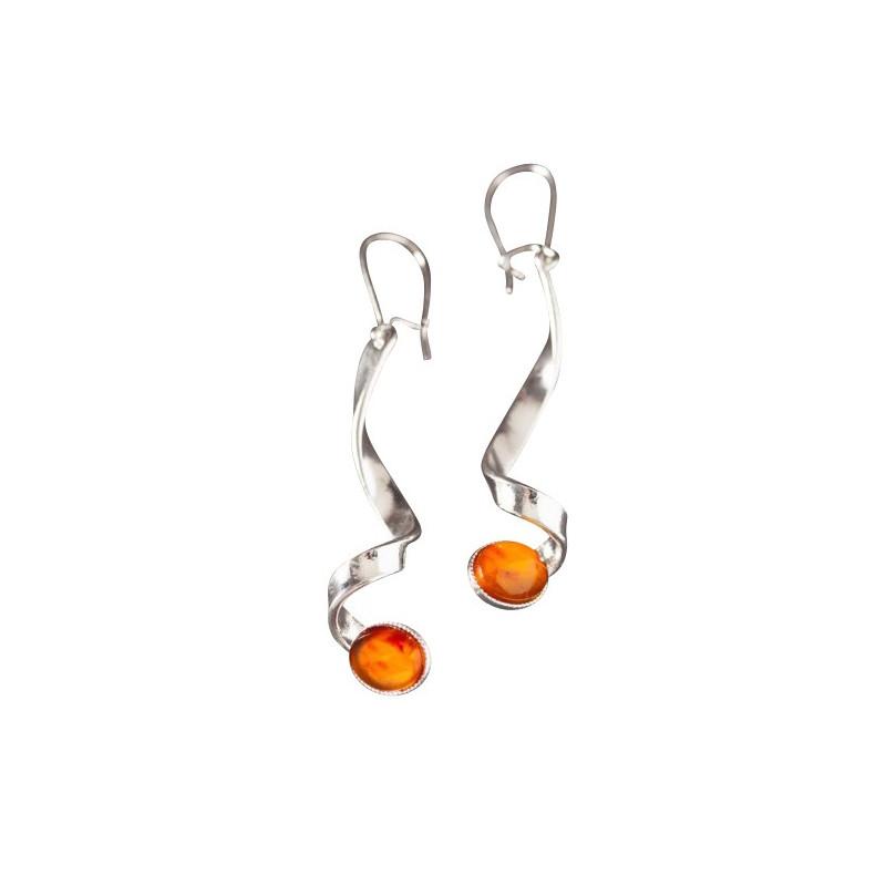 Boucles d'oreille argent avec ambre Voluptia, bijoux de créateur, vente en ligne, bijou artisanal, bijouterie en ligne