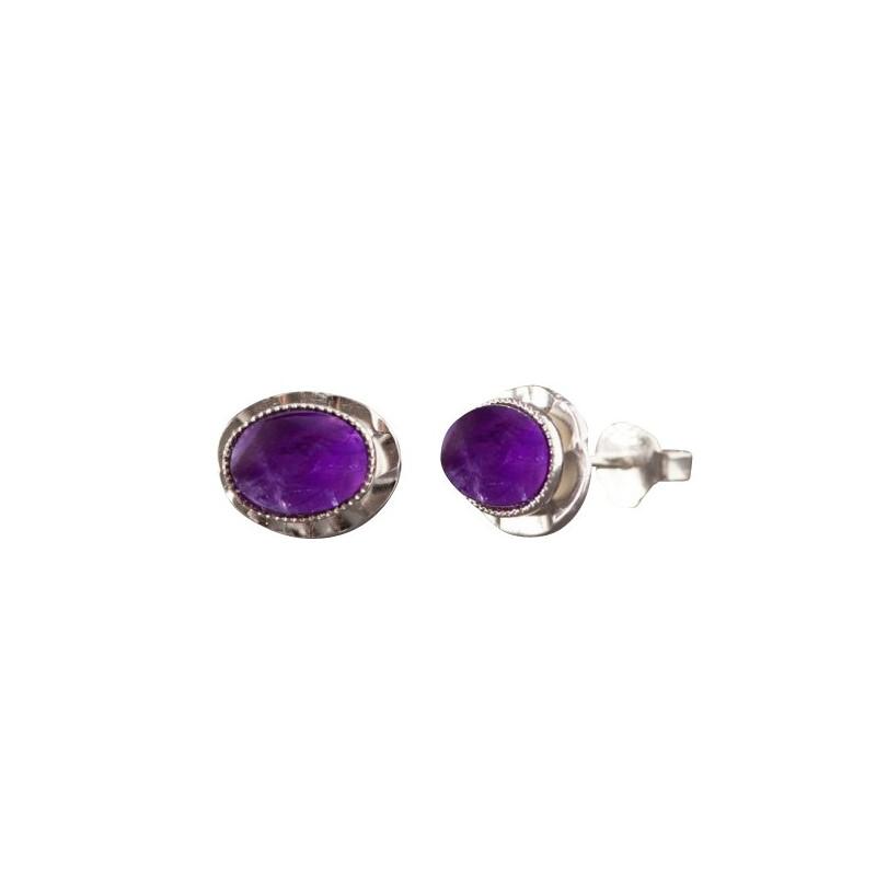 Boucles d'oreille argent avec améthyste Classica, bijoux de créateur, vente en ligne, bijou artisanal, bijouterie en ligne