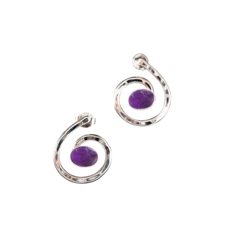 Boucles d'oreille argent avec améthyste Glaïa, bijoux de créateur, vente en ligne, bijou artisanal, bijouterie en ligne