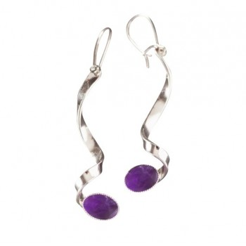 Boucles d'oreille argent avec améthyste, bijoux de créateur, vente en ligne, bijou artisanal, bijouterie en ligne