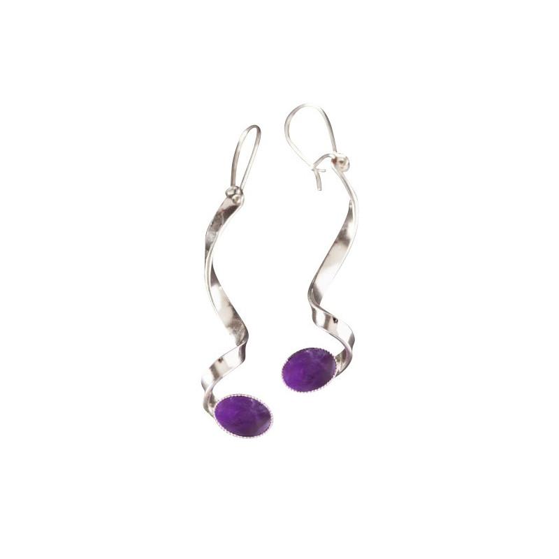 Boucles d'oreille argent avec améthyste Voluptia, bijoux de créateur, vente en ligne, bijou artisanal, bijouterie en ligne