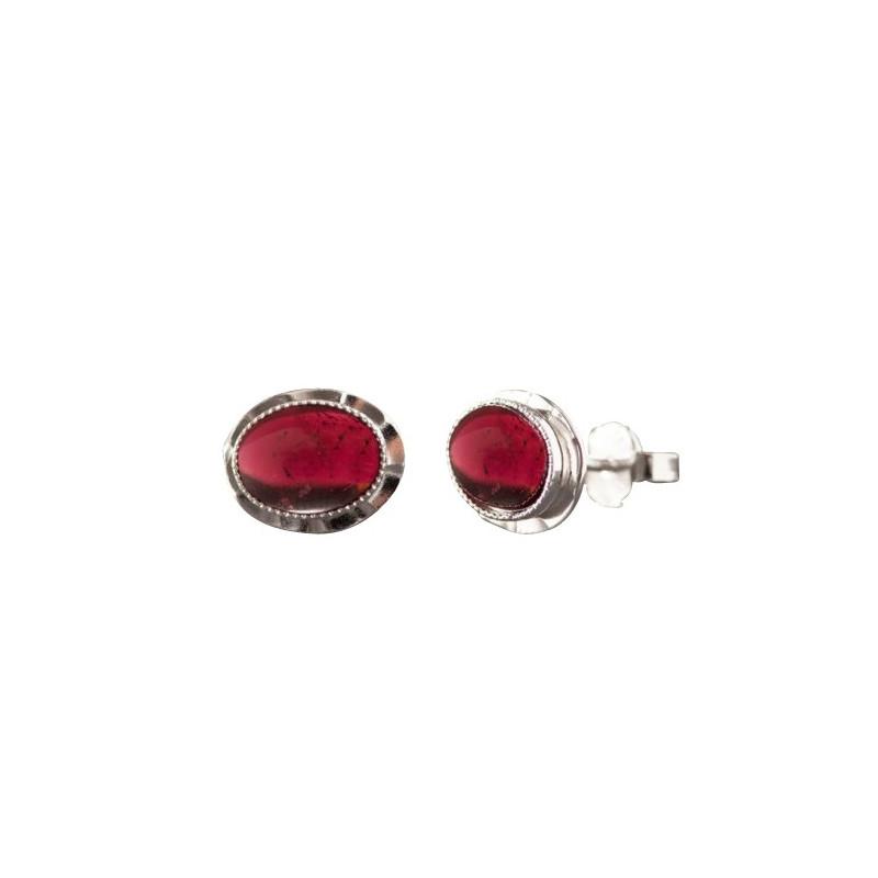 Boucles d'oreille argent avec grenat Classica, bijoux de créateur, vente en ligne, bijou artisanal, bijouterie en ligne
