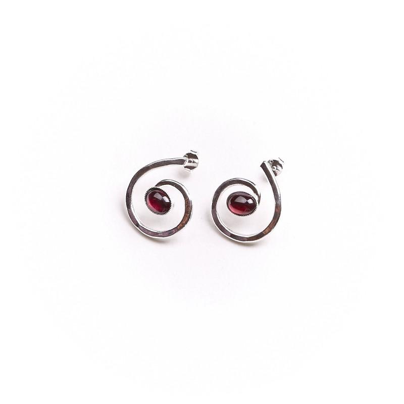Boucles d'oreille argent avec grenat Glaïa, bijoux de créateur, vente en ligne, bijou artisanal, bijouterie en ligne