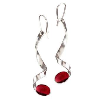 Boucles d'oreille argent avec grenat, bijoux de créateur, vente en ligne, bijou artisanal, bijouterie en ligne