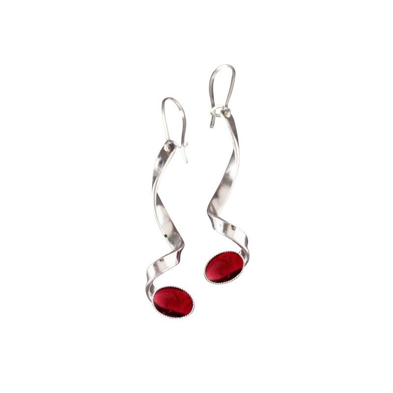 Boucles d'oreille argent avec grenat Voluptia, bijoux de créateur, vente en ligne, bijou artisanal, bijouterie en ligne