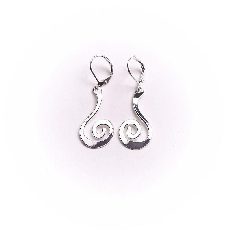 Boucles d'oreille argent spirale, bijoux de créateur, vente en ligne, bijou artisanal, bijouterie en ligne