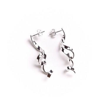 Boucles d'oreille argent 3 fils, bijoux de créateur, vente en ligne, bijou artisanal, bijouterie en ligne