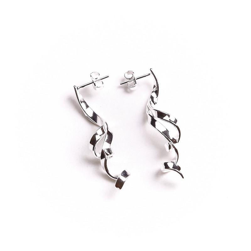 Boucles d'oreille argent Charmeuse, bijoux de créateur, vente en ligne, bijou artisanal, bijouterie en ligne