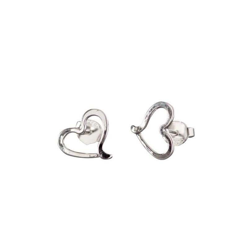 Boucles d'oreille argent coeur, bijoux de créateur, vente en ligne, bijou artisanal, bijouterie en ligne