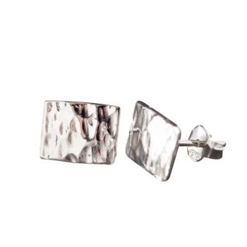 Boucles d'oreille argent martelé, bijoux de créateur, vente en ligne, bijou artisanal, bijouterie en ligne