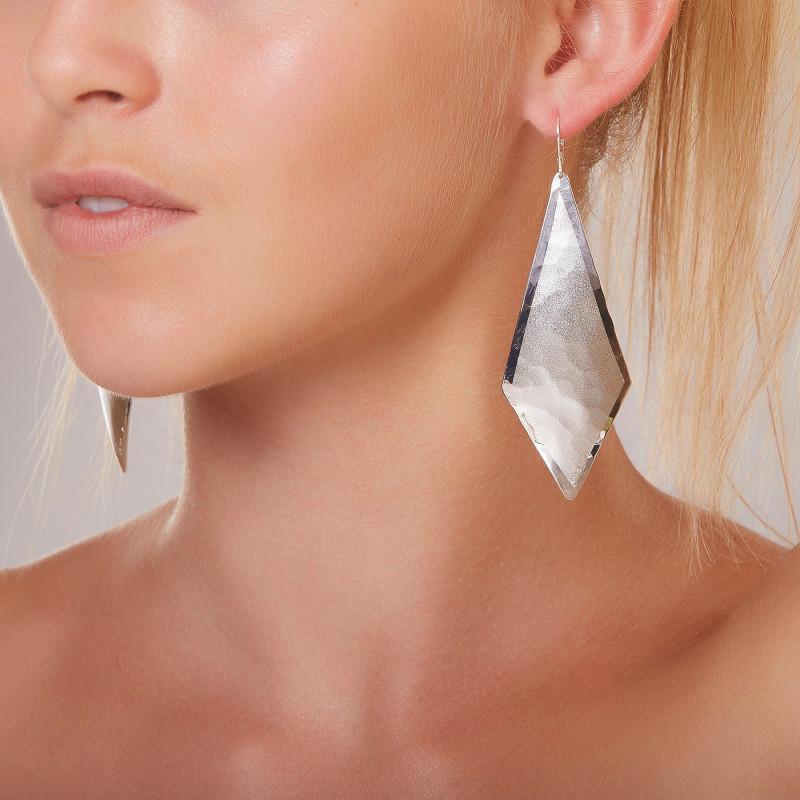 Boucles d'oreille argent martelé mat brillant, bijoux de créateur, vente en ligne, bijou artisanal, bijouterie en ligne