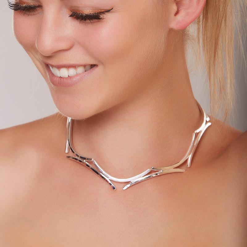 Collier argent les lauriers de venus, bijoux de créateur, vente en ligne, bijou artisanal, bijouterie en ligne