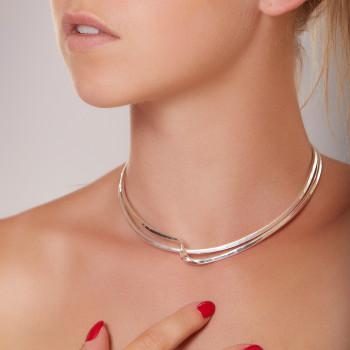 Collier argent 2 fils, bijoux de créateur, vente en ligne, bijou artisanal, bijouterie en ligne