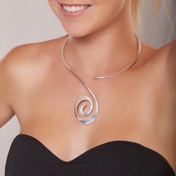 Collier argent spirale, bijoux de créateur, vente en ligne, bijou artisanal, bijouterie en ligne
