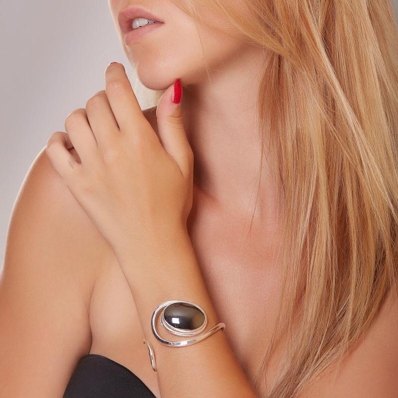 Bracelet argent hématite, bijoux de créateur, vente en ligne, bijou artisanal, bijouterie en ligne