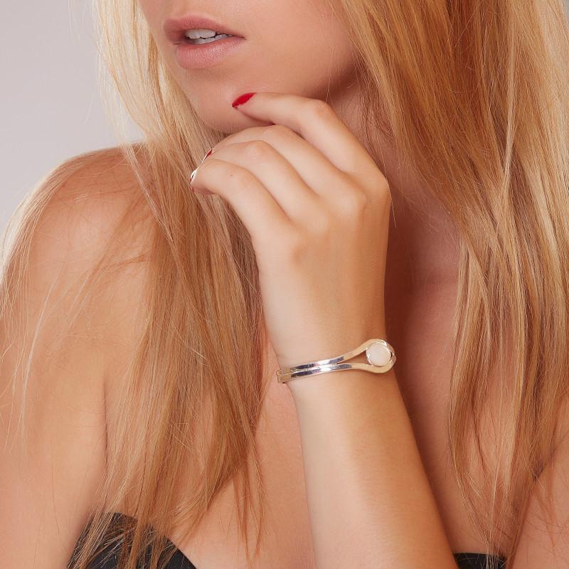 Bracelet argent nacre Classica, bijoux de créateur, vente en ligne, bijou artisanal, bijouterie en ligne