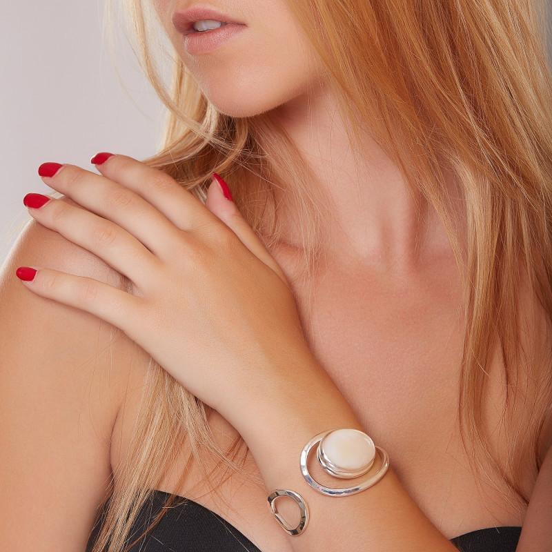 Bracelet argent nacre, bijoux de créateur, vente en ligne, bijou artisanal, bijouterie en ligne