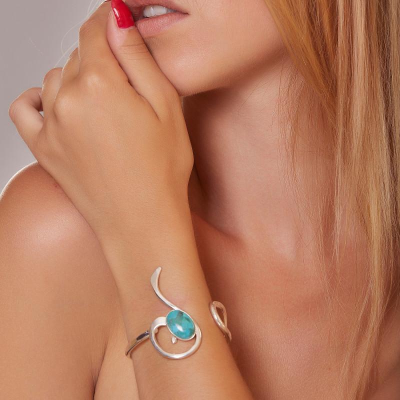 Bracelet argent turquoise Lizae, bijoux de créateur, vente en ligne, bijou artisanal, bijouterie en ligne