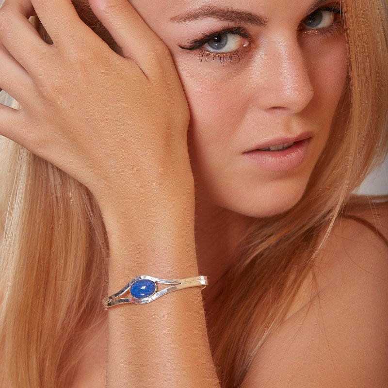 Bracelet argent Lapis lazuli Classica, bijoux de créateur, vente en ligne, bijou artisanal, bijouterie en ligne