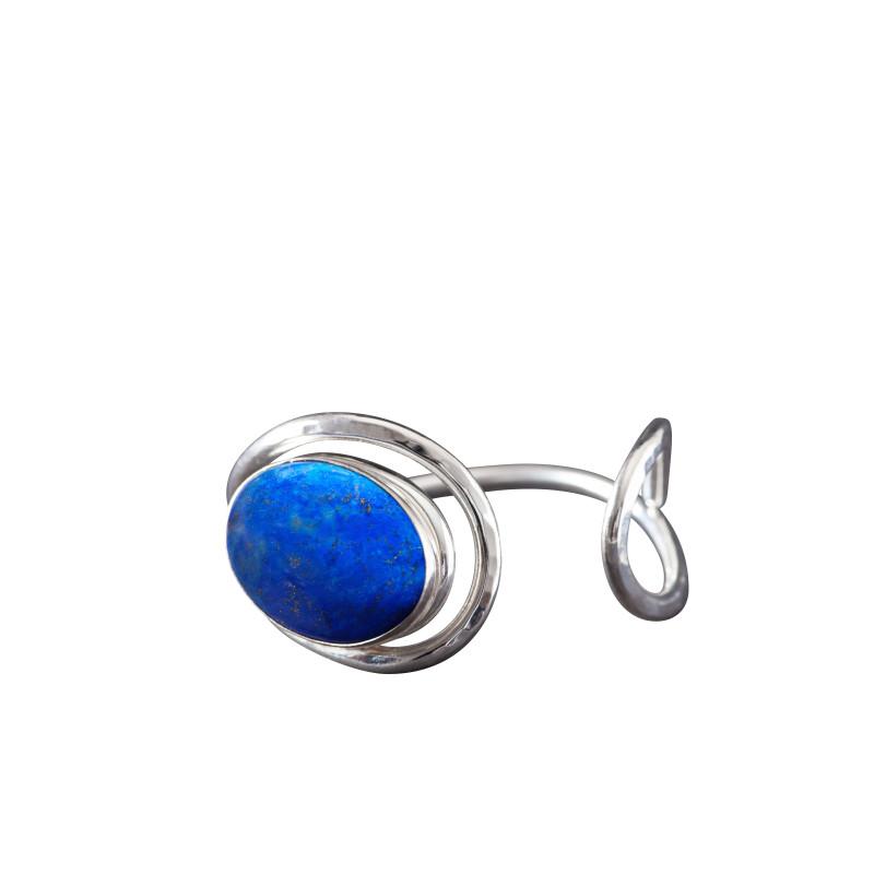Bracelet argent lapis lazuli Voluptia, bijoux de créateur, vente en ligne, bijou artisanal, bijouterie en ligne