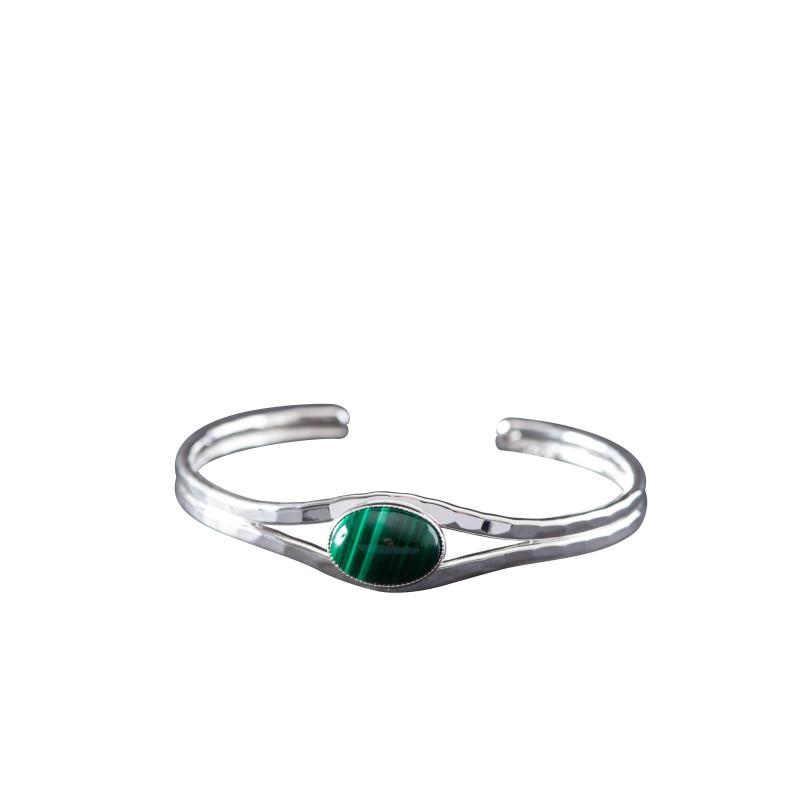 Bracelet argent malachite Classica, bijoux de créateur, vente en ligne, bijou artisanal, bijouterie en ligne