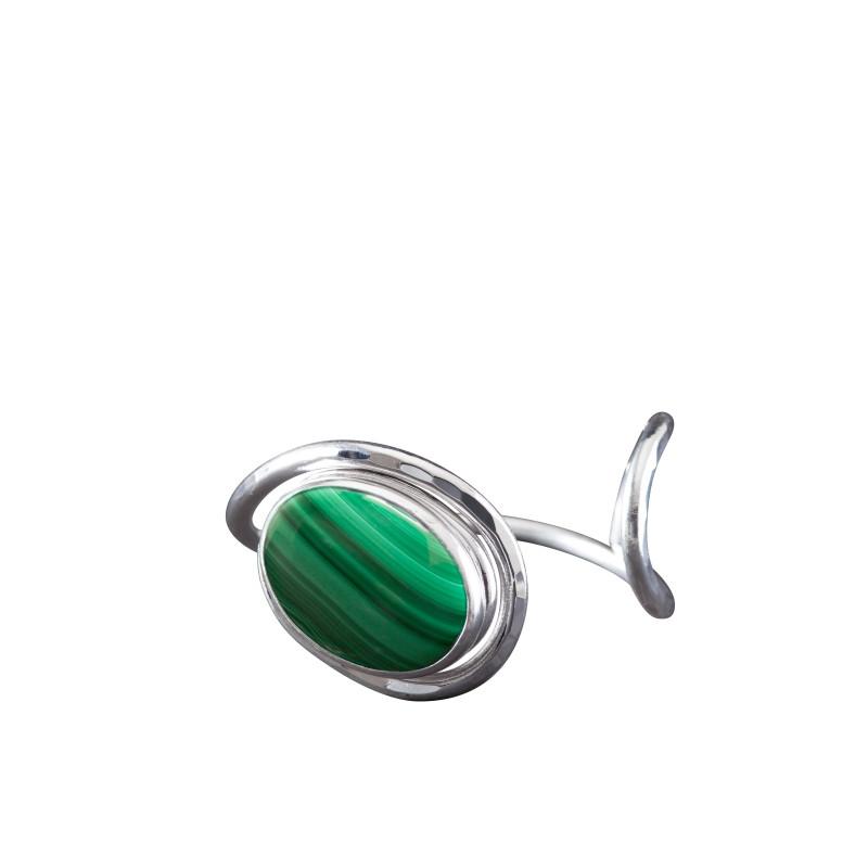 Bracelet argent malachite Voluptia, bijoux de créateur, vente en ligne, bijou artisanal, bijouterie en ligne