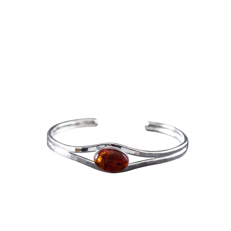 Bracelet argent ambre Classica, bijoux de créateur, vente en ligne, bijou artisanal, bijouterie en ligne