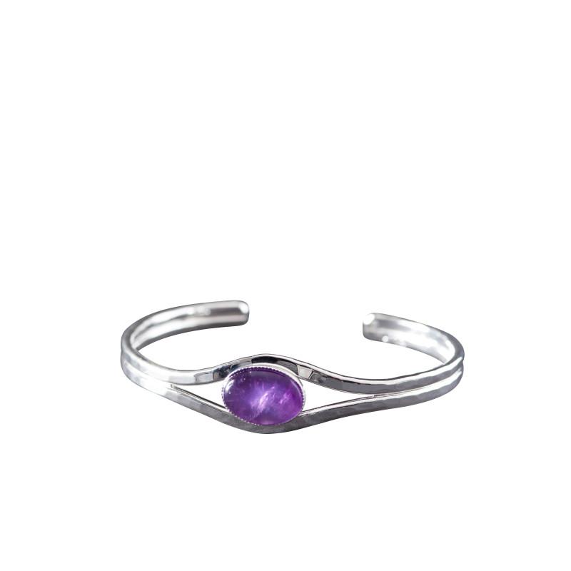 Bracelet argent améthyste Classica, bijoux de créateur, vente en ligne, bijou artisanal, bijouterie en ligne