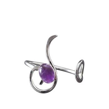 Bracelet argent améthyste Lizae, bijoux de créateur, vente en ligne, bijou artisanal, bijouterie en ligne