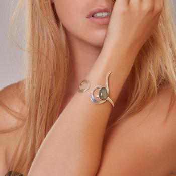 Bracelet argent labradorite Lizae, bijoux de créateur, vente en ligne, bijou artisanal, bijouterie en ligne