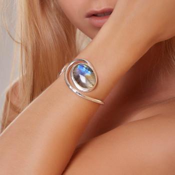 Bracelet argent labradorite, bijoux de créateur, vente en ligne, bijou artisanal, bijouterie en ligne
