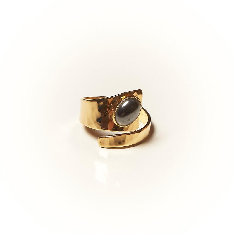 Bague plaqué or Hématite Romae, bijoux de créateur, vente en ligne, bijouterie