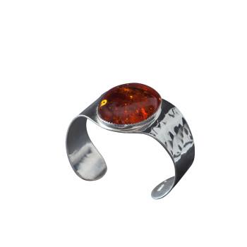 Bracelet plaqué argent ambre, bijoux de créateur, vente en ligne, bijou artisanal, fabrication française