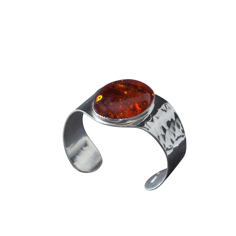 Bracelet argent ambre Eleganza, bijoux de créateur, vente en ligne, bijou artisanal, fabrication française