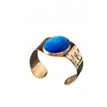 Bracelet plaqué or lapis lazuli, bijoux de créateur, vente en ligne, bijou artisanal, fabrication française