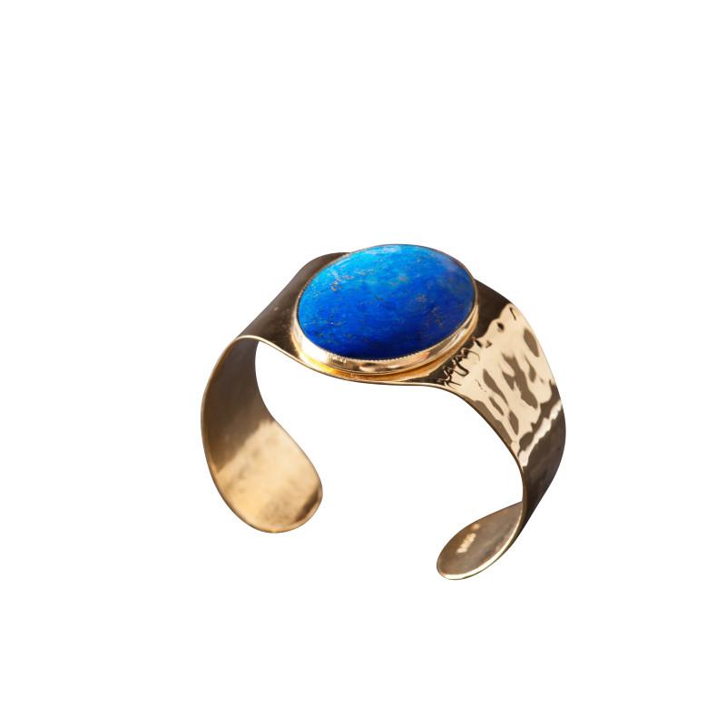 Bracelet plaqué or lapis lazuli Eleganza, bijoux de créateur, vente en ligne, bijou artisanal, fabrication française
