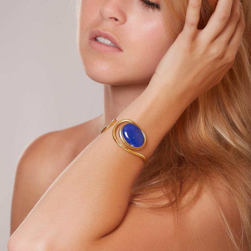 Bracelet plaqué or lapis lazuli Voluptia, bijoux de créateur, vente en ligne, bijou artisanal, bijou fabrication française