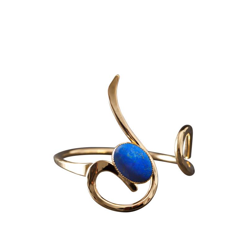 Bracelet plaqué or lapis lazuli, bijoux de créateur, vente en ligne, bijou artisanal, bijou fabrication française