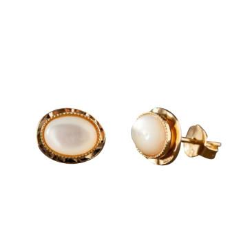 Boucles d'oreille plaqué or nacre, bijoux de créateur, vente en ligne, bijou artisanal, bijou fabrication française