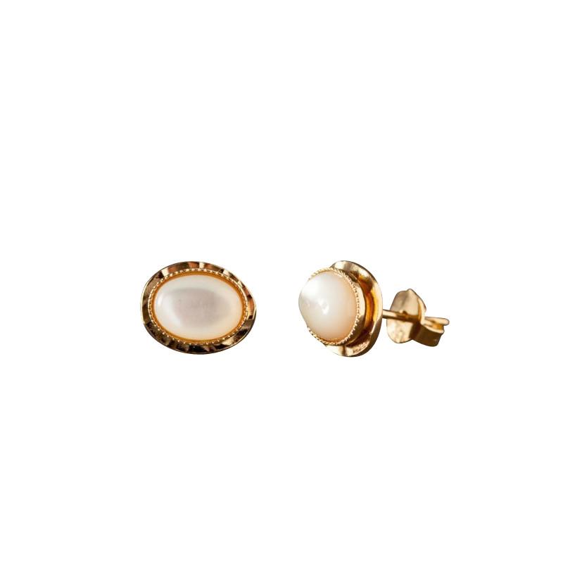 Boucles d'oreille plaqué or nacre Classica, bijoux de créateur, vente en ligne, bijou artisanal, bijou fabrication française