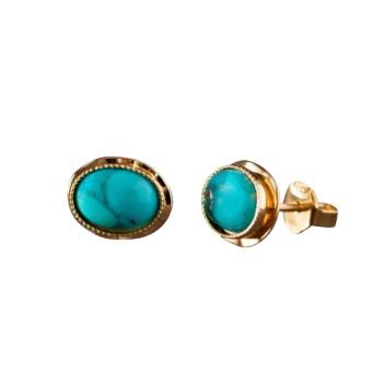 Boucles d'oreille plaqué or turquoise, bijoux de créateur, vente en ligne, bijou artisanal, bijou fabrication française