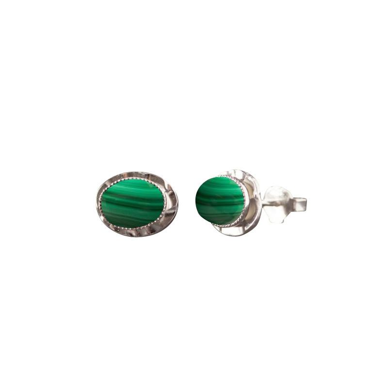 Boucles d'oreille argent avec malachite Classica, bijoux de créateur, vente en ligne, bijou artisanal, bijouterie en ligne
