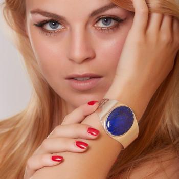 Bracelet argent lapis lazuli, bijoux de créateur, vente en ligne, bijou artisanal, fabrication française