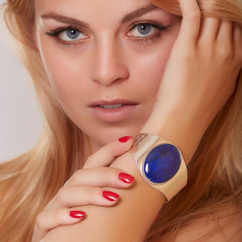 Bracelet plaqué argent lapis lazuli, bijoux de créateur, vente en ligne, bijou artisanal, fabrication française