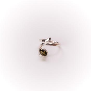 Bague argent Ambre verte Perce Neige, bijoux de créateur, vente en ligne, bijouterie