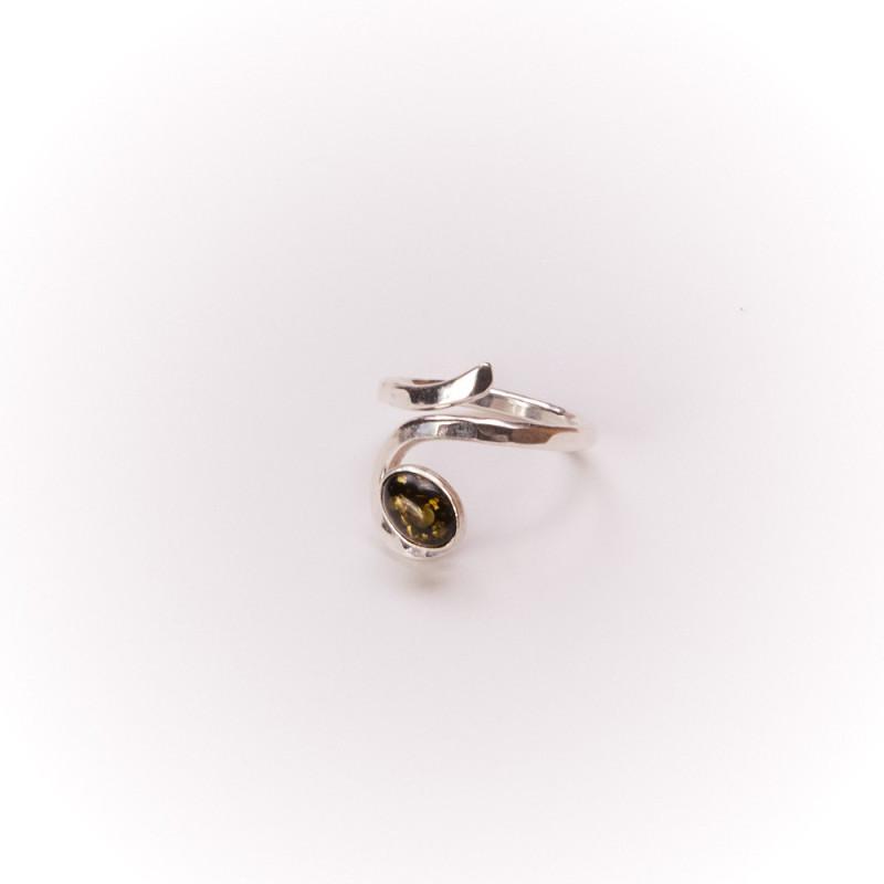 Bague argent Ambre verte, bijoux de créateur, vente en ligne, bijouterie