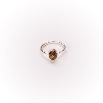 Bague argent avec ambre verte Classica, bijoux de créateur, vente en ligne, bijou artisanal, bijouterie