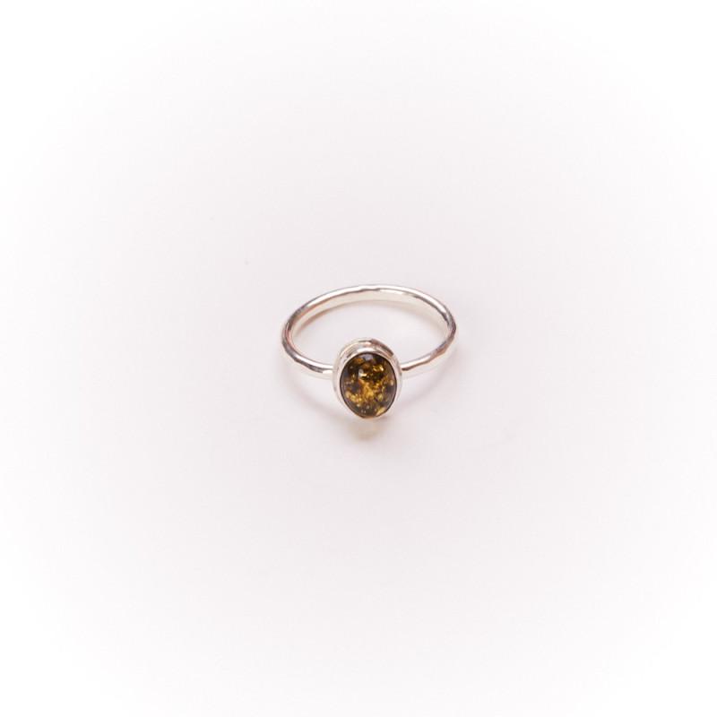 Bague argent avec ambre verte, bijoux de créateur, vente en ligne, bijou artisanal, bijouterie