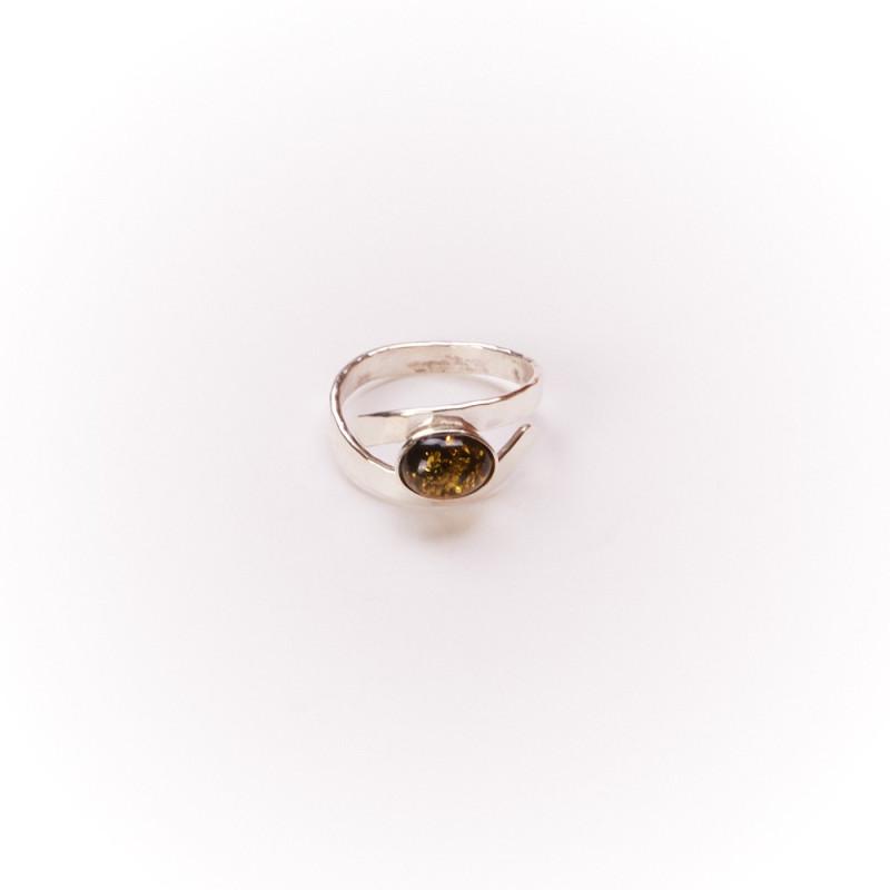 Bague argent avec ambre verte Emulsia, bijoux de créateur, vente en ligne, bijouterie