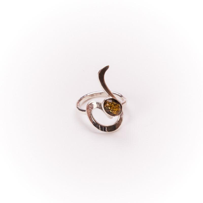 Bague argent avec ambre verte Lizae, bijoux de créateur, vente en ligne, bijouterie